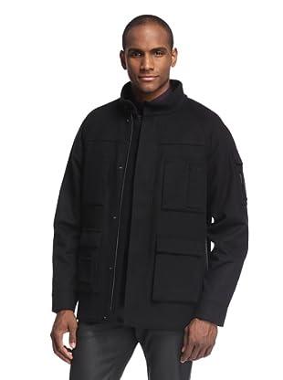 Calvin Klein Collection Men's Pocket Overcoat (Black Multi)