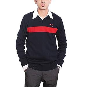 Puma Men's Cotton Stripper Sweater, Navy