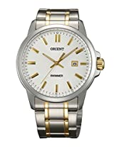 Orient Quartz Men White Dial Silver & Gold Metal Strap Round Shape, Made in Japan