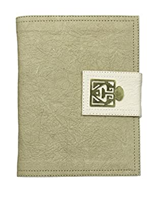Marina Vaptzarov Medium Soft Vegetal Leather Cover Travel Diary with Brass Detail, Natural/White