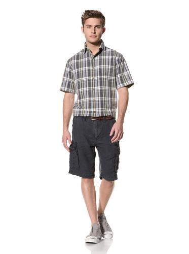 Tailor Vintage Men's Linen Cargo Short (Navy)