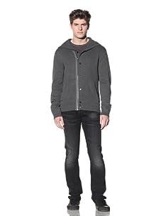 MG Black Label Men's Vertebrae Hooded Knit Jacket (Charcoal)