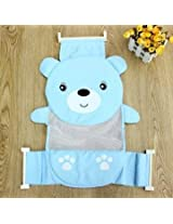 Baby Bear Bathroom Security Tub Belt Cradle Breathable Hammock Cute Mesh Adjustable Seat Shower Bed (Blue)
