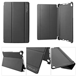 DMG Premium Slim Fit Hard Back Smart Flip Cover Stand Case for Asus Google Nexus 7 2013 Android Tablet with DMG Wristband (Black)