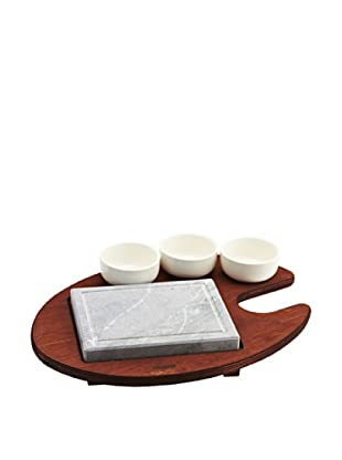 Pepper Style by Bisetti Rectangular Cooking Stone with Porcelain Bowls