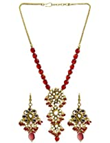 Exotic India Red Beaded Kundan Necklace Set with Earrings - Copper Alloy with Cut Glass