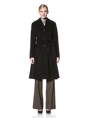 Ellen Tracy Women's Single-Breasted Belted Wool Coat (Black)