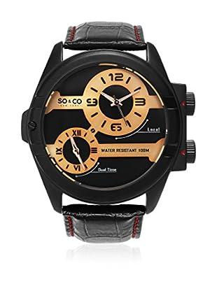 So&Co New York Reloj con movimiento cuarzo japonés Man Genuine Leather Strap 53 mm