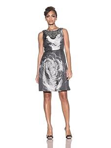 Carmen Marc Valvo Women's Floral Bib Sleeveless Dress (Graphite)