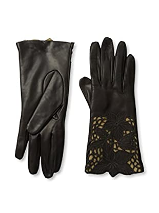 Portolano Women's Leather Gloves with Floral Laser Cut Cuff (Teak/Camel)