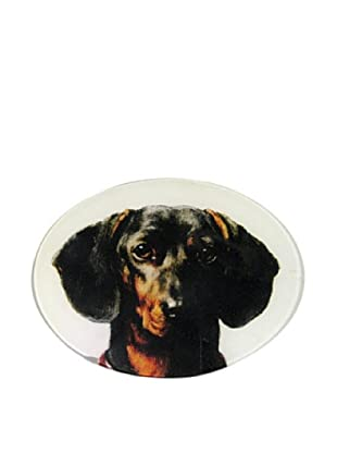 Twigs and Moss Black and Brown Dachshund Glass Tray