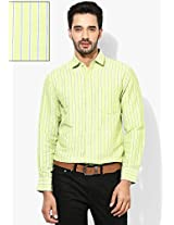 Green Striped Slim Fit Casual Shirt Peter England