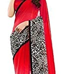 Red Chiffon Printed Saree