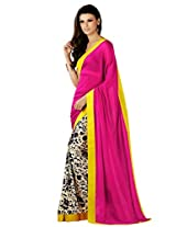 Riti Riwaz Pink & Beige saree with unstitched blouse RBL110