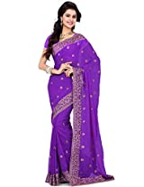 Utsav Fashion Women's Purple Faux Georgette Saree with Blouse