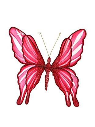 Winward Double Winged Small Butterfly Ornament, Red