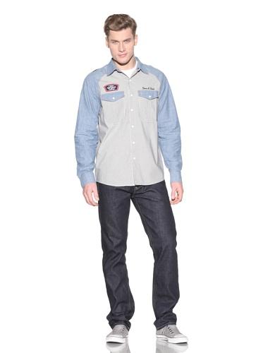 Under Two Flags Men's Button Front Work Shirt (Light Garment Wash)