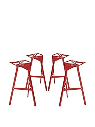 Modway Launch Stacking Set of 4 Bar Stools, Red