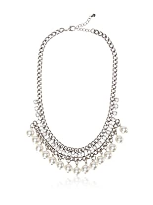 Chloe & Theodora Gunmetal and Simulated Pearl Bib Necklace