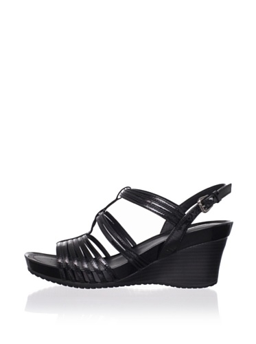 Geox Women's Roxy 37 Wedge Sandal (Black)