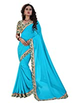 """Shree laxmi creations women,s Blu colour chiffon saree"""