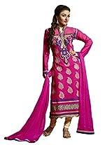 Pink Colour Faux Georgette Semi Party Wear ''Zardosi'' Work Churidar Suit 1258