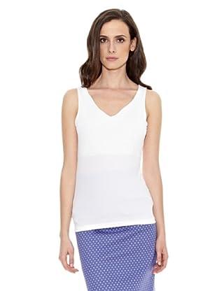 Cortefiel Camiseta Básica Tirante A (Blanco)