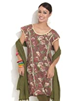 Diva Women's Cotton Brown Shadow Striped Kurta With Piping Large