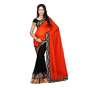 Fabdeal Women Faux Georgette Chiffon Embroidered Saree with Blouse Piece