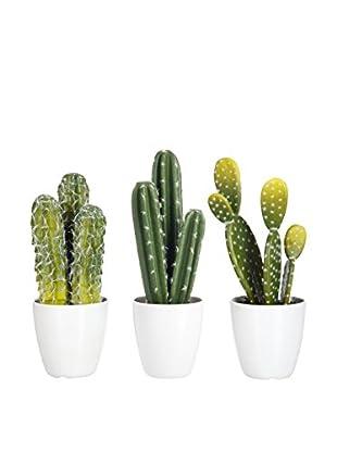 J-LINE Kunstpflanze 3er Set Cactus