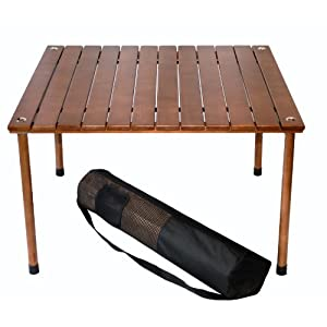 Table in a Bag W2716 Low Wood Portable Table with Carrying Bag, Brown