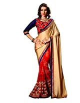 Texclusive Women'S Georgette & Satin Chiffon Saree With Blouse Piece