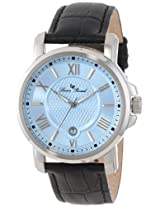 Lucien Piccard Men's LP-12358-012 Cilindro Light Blue Textured Dial Black Leather Watch
