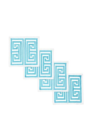 Trina Turk Set of 4 Greek Key Embroidered Cocktail Napkins (Turquoise)