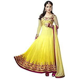 Neha Sharma geogette stone work light Yellow semi stitched long anarkali suit by fabfiza