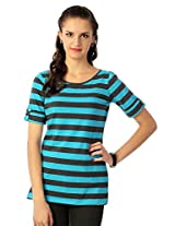 Allen Solly Striped Tee With Button Up Sleeve Detail