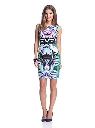 Single Women's Printed Sheath with Scalloped Neckline (Green Multi)