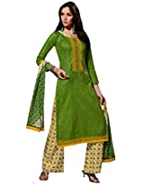 Inddus Women Green & Beige Self Designed Plazzo Unstitched Material