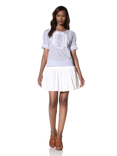 COLLETTE BY COLLETTE DINNIGAN Women's Short Sleeve Embroidered Top (Cornflower)
