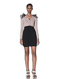 Moschino Cheap and Chic Women's Cropped Cardigan with Shoulder Detail (Taupe/ Multicolor)