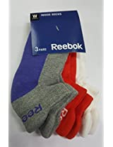 REEBOK WOMENS'S INSIDE SOCKS- PACK OF 3 PAIR (PUPLE-GREY/PNK-OR/RD-WHT)