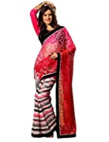 Texclusive Women'S Brasso And Chiffon Saree With Blouse Piece