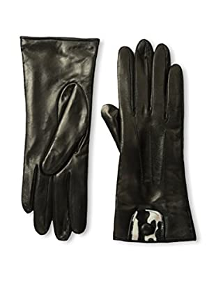 Portolano Women's Cashmere-Lined Leather Glove with Haircalf Cutout (Black/Leopard A)