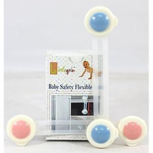 BABY CHILD SAFETY WARDROBE CUPBOARD FRIDGE DRAWER TOILET FLEXIBLE LATCH LOCK - 2 Piece Set