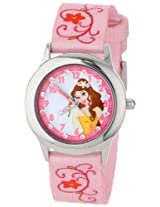 Disney Kids' W001039 Belle Glitz Stainless Steel Time Teacher Watch with Printed Strap