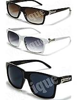 New Biohazard Mens Sunglasses-Retro/vtg Wayfarer Style-NWT-BlackBrownWhite(65)