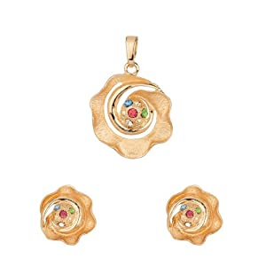 Voylla Gold Plated Floral Pendant Set Without Chain