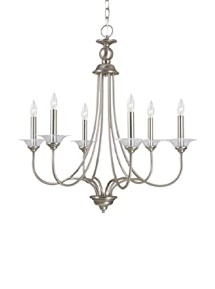 Sea Gull Lighting Lemont 6-Light Candelabra Chandelier, Antique Brushed Nickel