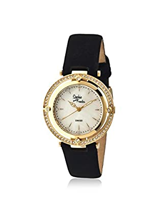 Sophie and Freda Women's SF1403 Tuscany Black/White/Gold Leather Watch