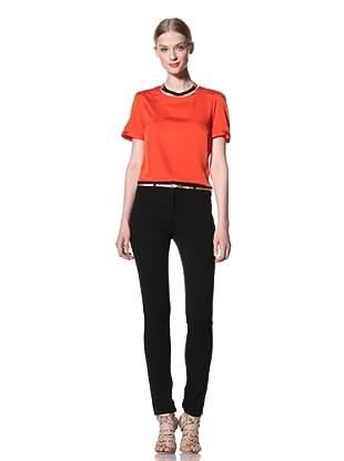 Pink Tartan Women's Silk Blouse (Orange)